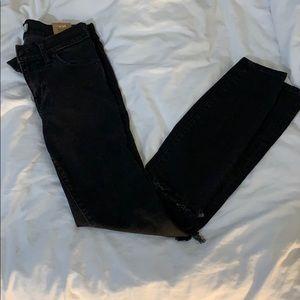 MADEWELL high riser skinny black w slit knees 26
